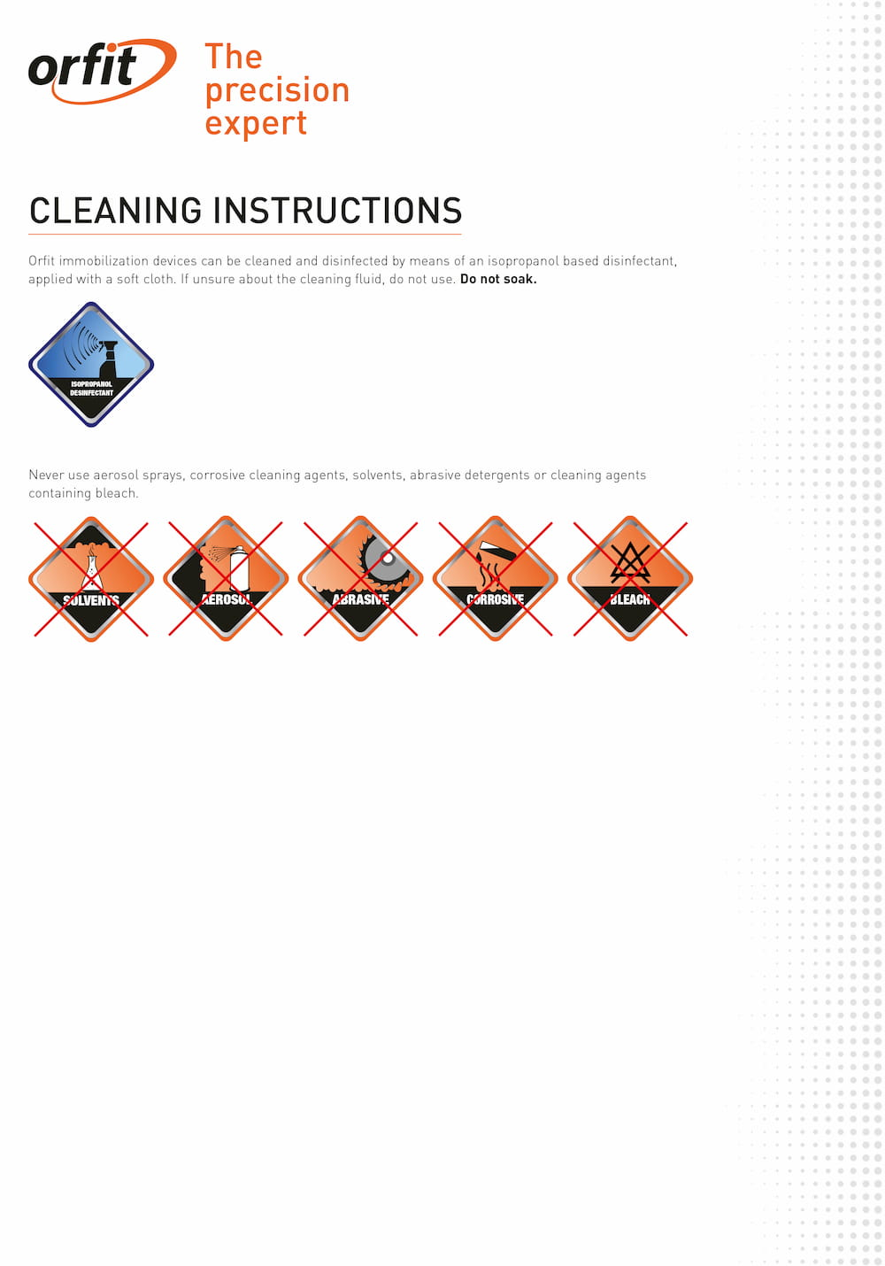 Cleaning guide to clean and disinfect Orfit Products