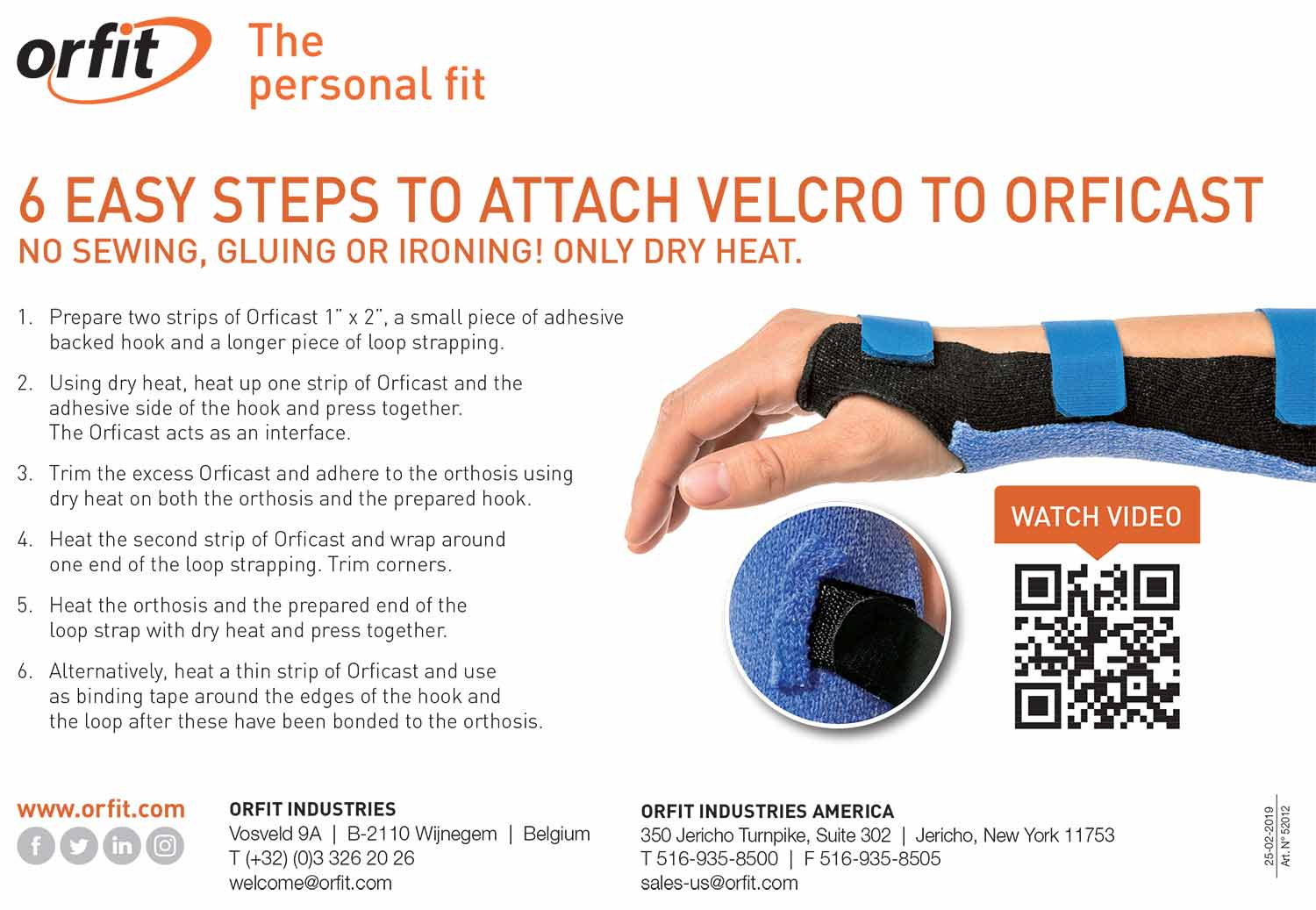 Leaflet showing how to attach hook and loop tape to an Orficast orthosis.