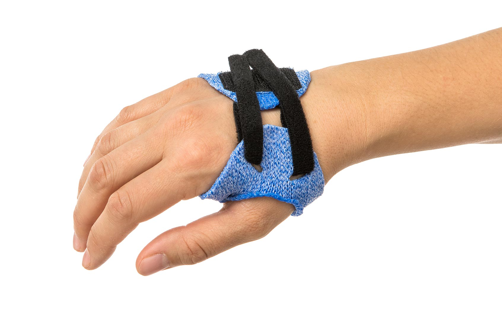 Blue Orficast orthosis with hook-and-loop strapping