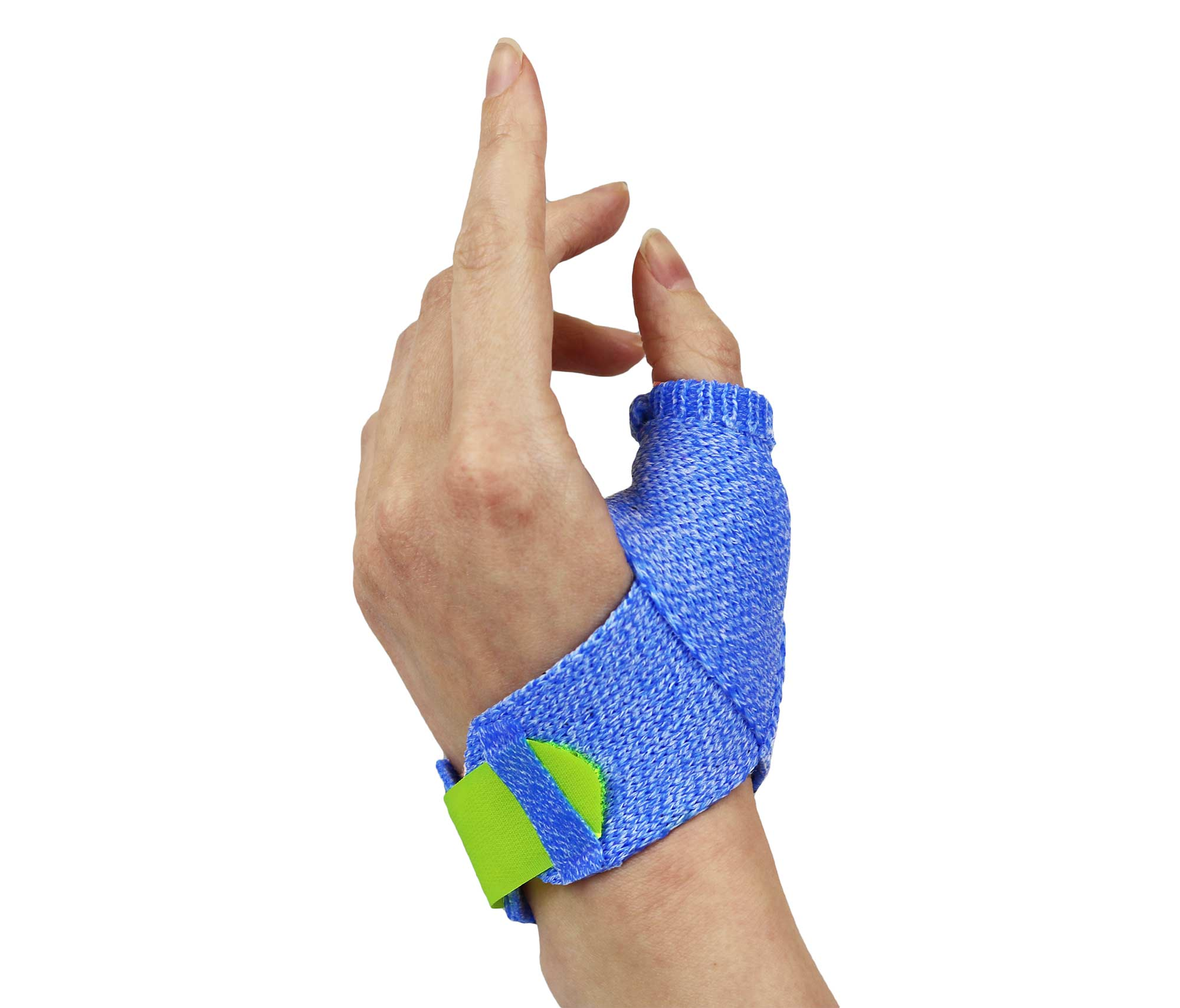 Blue Orficast orthosis with yellow hook-and-loop strapping