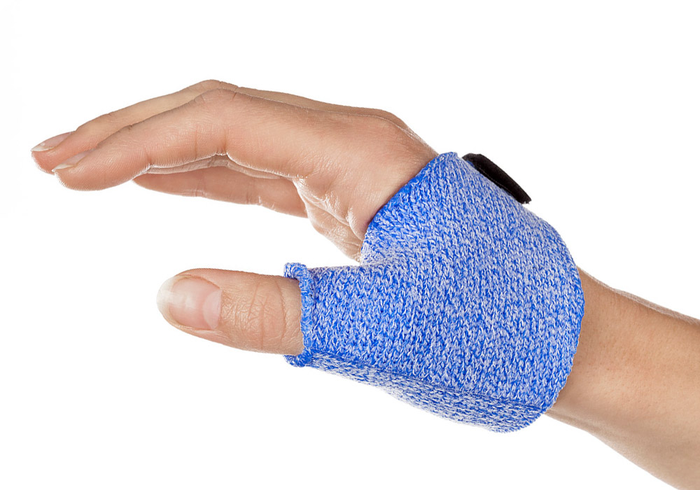 Short Thumb Opponens Orthosis in Orficast Blue