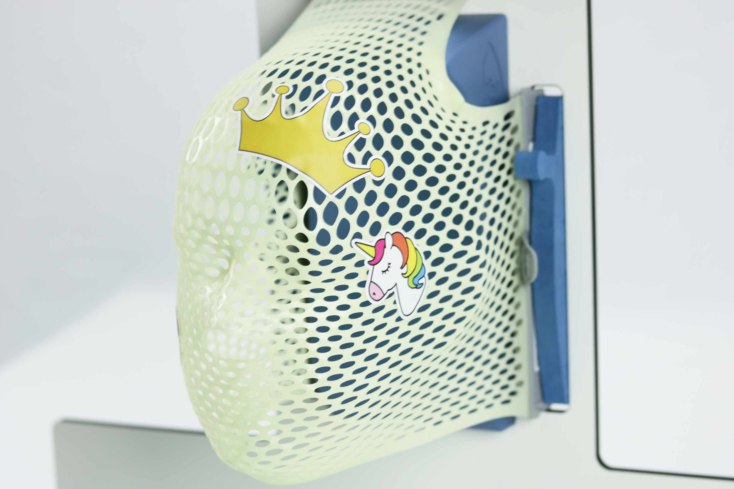 Thermoplastic mask with crown and unicorn stickers